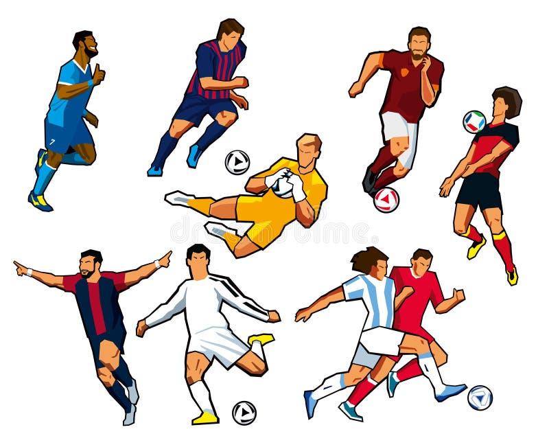 Verschiedene Zahlen von Fußballspielern des unterschiedlichen Fußballs schlägt mit einer Keule vektor abbildung