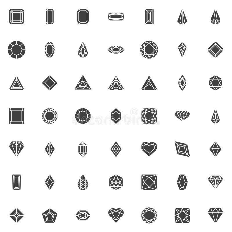 Verschiedener Diamant formt Vektorikonensatz stock abbildung
