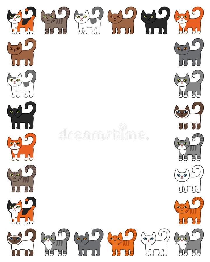 Verschiedener Katzengrenzrahmen Nette und lustige Karikaturmiezekatzekatzen-Vektorillustration eingestellt mit unterschiedlicher  stock abbildung