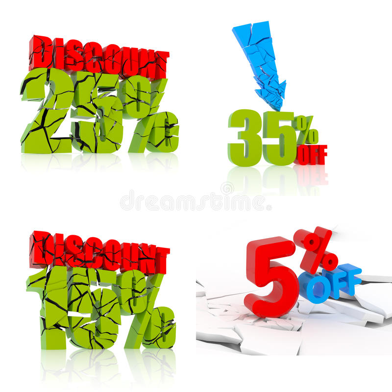 Verschiedener Rabattikonensatz lizenzfreie abbildung