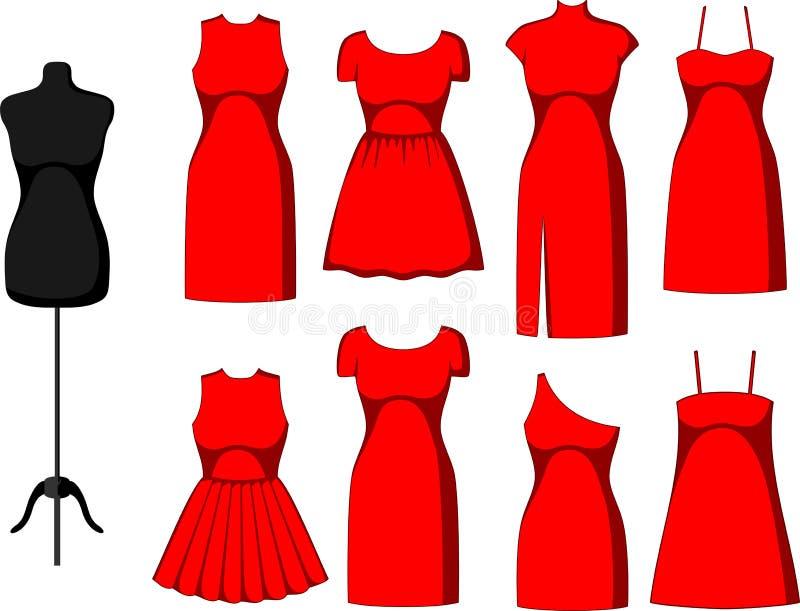 Verschiedenes Cocktail und Abend-Kleider vektor abbildung