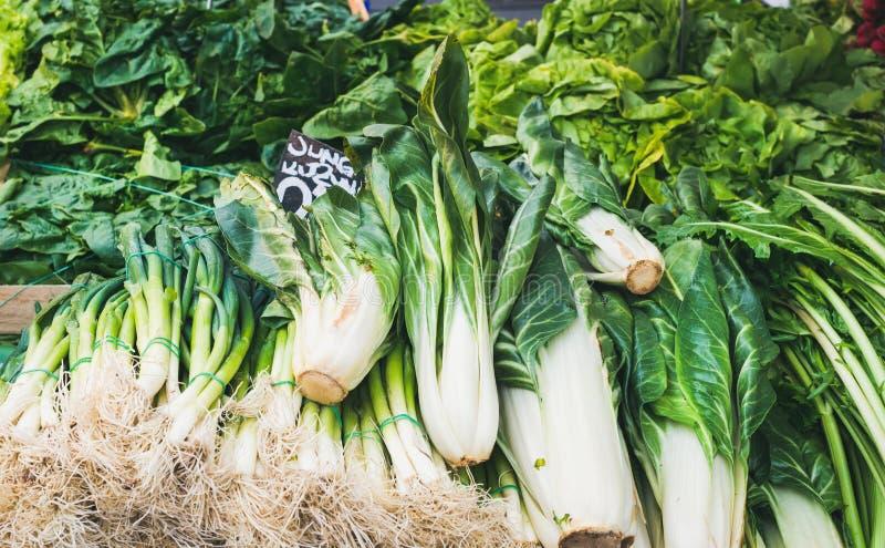 Verschiedenes frisches grünes Gemüse und Kräuter auf Markt klemmen fest stockbilder