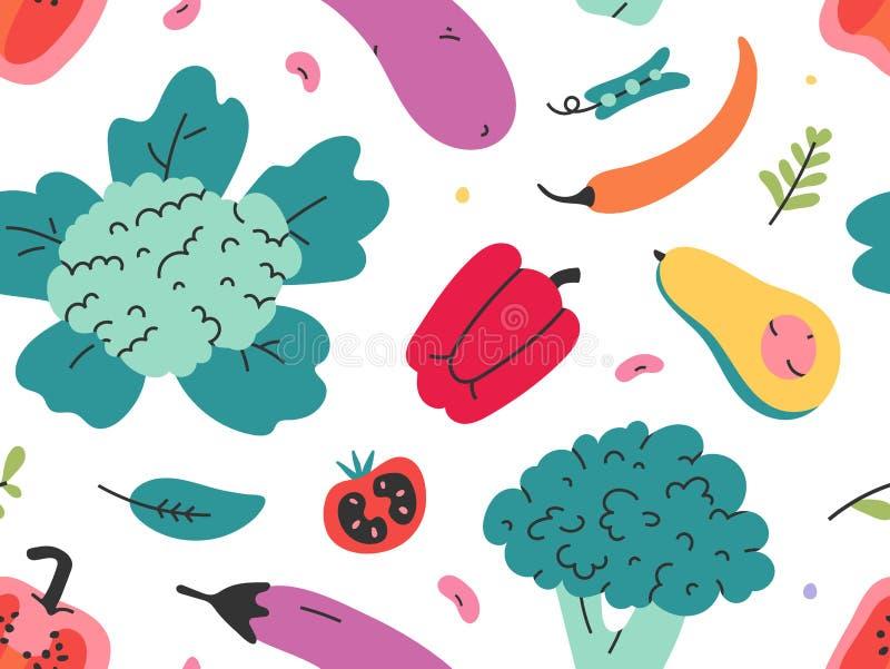 Verschiedenes Gemüse nahtlose Vektormuster von Hand gezogenen frisch geschmackvollen vegetarischen Lebensmittel Wiederholte Tapet vektor abbildung