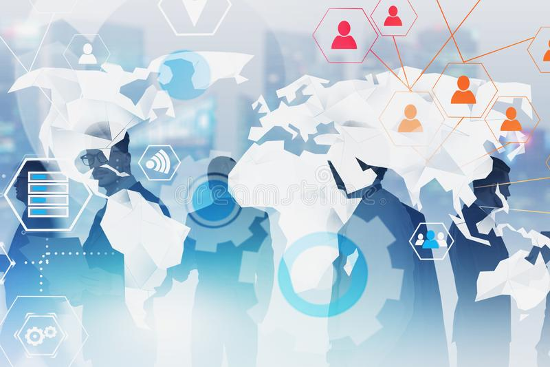 Verschiedenes Gesch?ftsteam, globales Gesch?ft infographic lizenzfreies stockbild