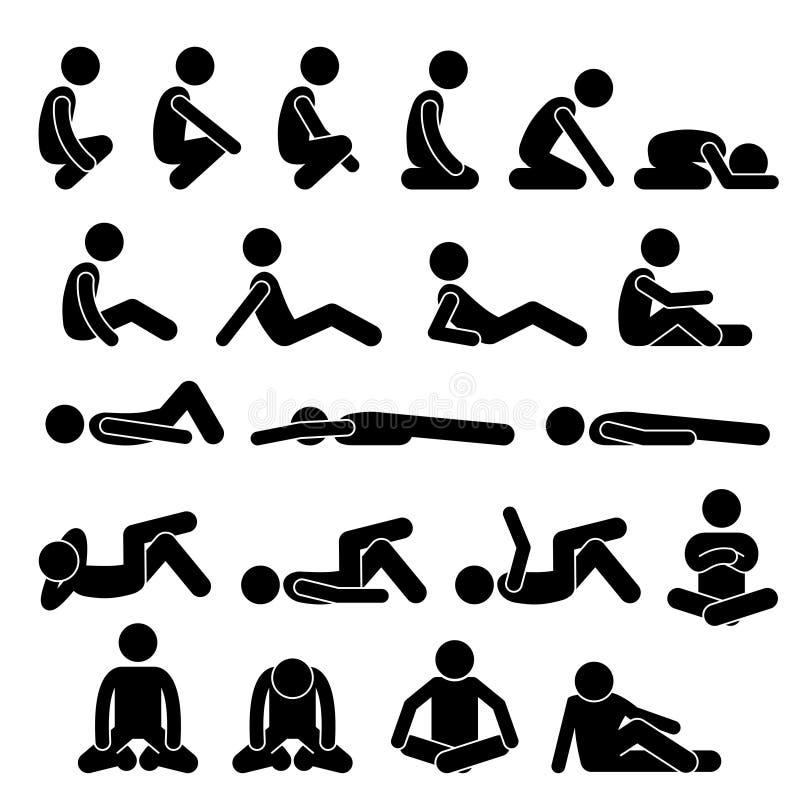 Verschiedenes Hockensitzendes sich hinlegen auf dem Boden posiert Positions-menschliche Mann-Leute-Stock-Zahl Stickman-Piktogramm vektor abbildung
