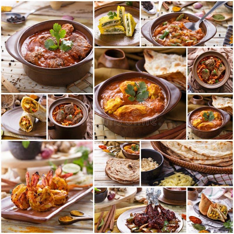Verschiedenes indisches Lebensmittelbuffet, Collage stockbild