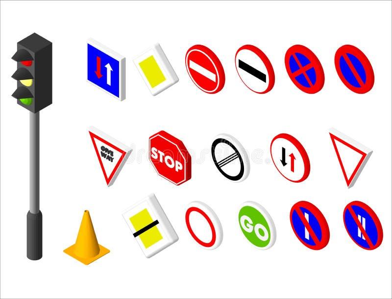 Verschiedenes Verkehrsschild der isometrischen Ikonen und Ampel Europäisches und im amerikanischen Stil Design Vektorabbildung EN stock abbildung