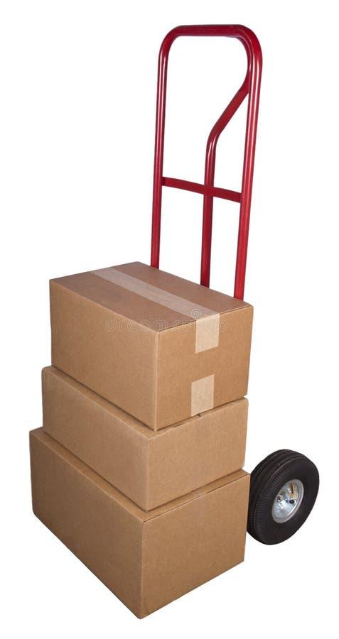 Verschiffen-Anlieferungs-Transportwagen-Lieferung schachtelt das Paket-Bewegen lizenzfreie stockfotos