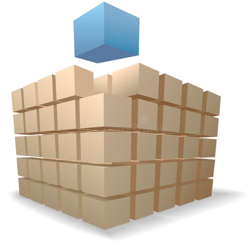 Verschiffen-Kasten-Puzzlespielauszugswürfel auf Stapeln stock abbildung