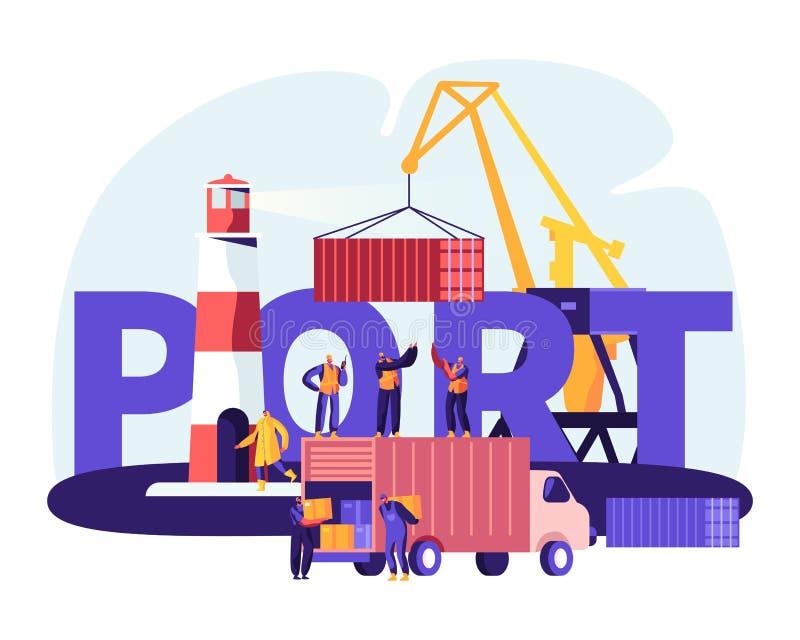 Verschiffungshafen-Konzept Hafen Crane Loading Containers, Seehafen-Arbeitskräfte Carry Boxes vom LKW in den Docks nahe Leuchttur vektor abbildung