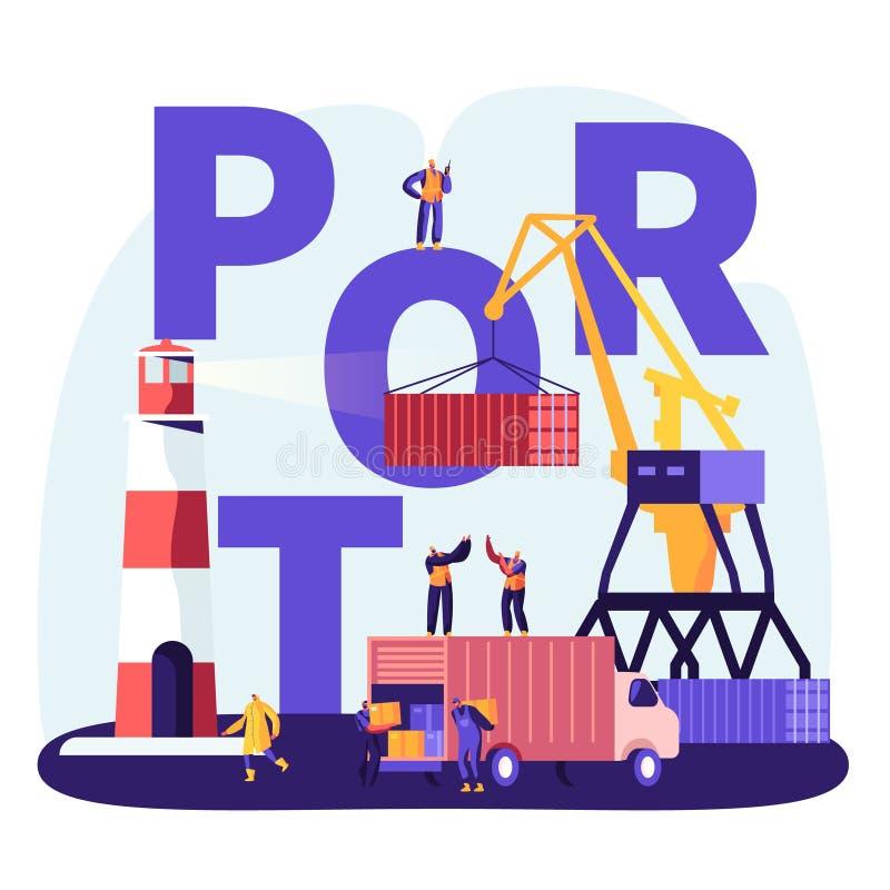Verschiffungshafen-Konzept Hafen Crane Loading Containers, Seehafen-Arbeitskr?fte Carry Boxes vom LKW in den Docks nahe Leuchttur vektor abbildung