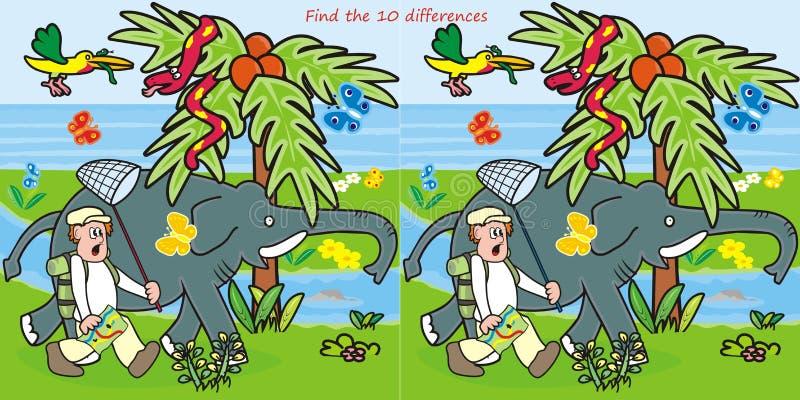 verschil-mens 10 en olifant stock illustratie