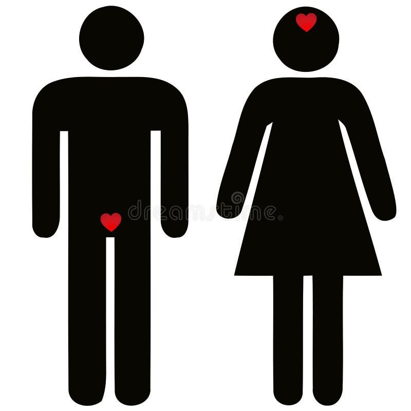 Verschil van de mens en vrouw betreffende liefde stock illustratie