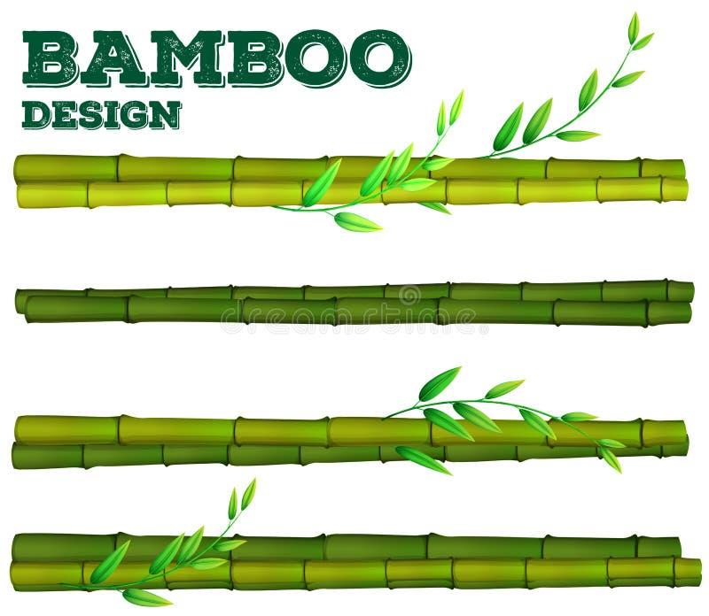 Verschillend bamboeontwerp met stam en bladeren royalty-vrije illustratie