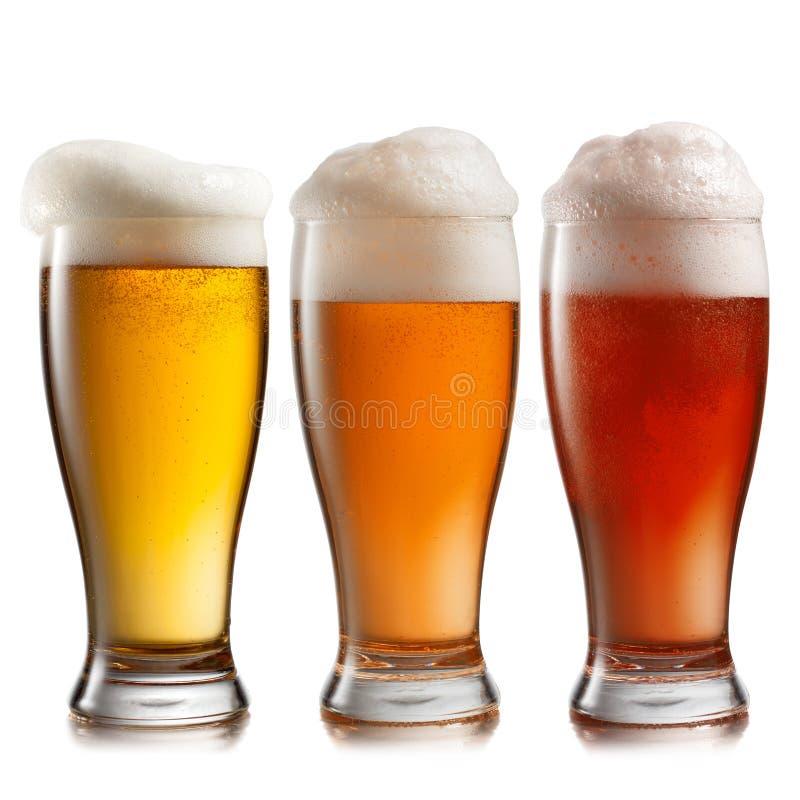 Verschillend bier in glazen  stock foto's