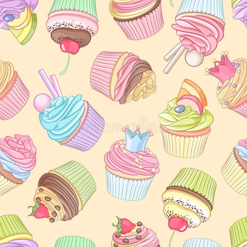 Verschillend cupcakes naadloos patroon Vector illustratie royalty-vrije illustratie