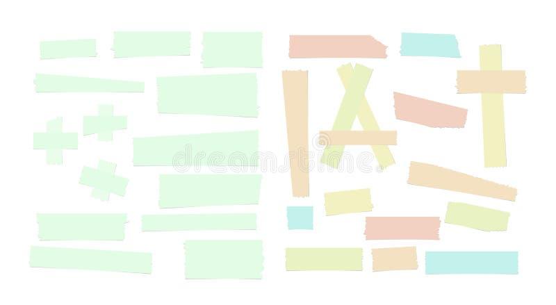 Verschillend grootte kleurrijk kleverig document, kleefstof, afplakband stock illustratie