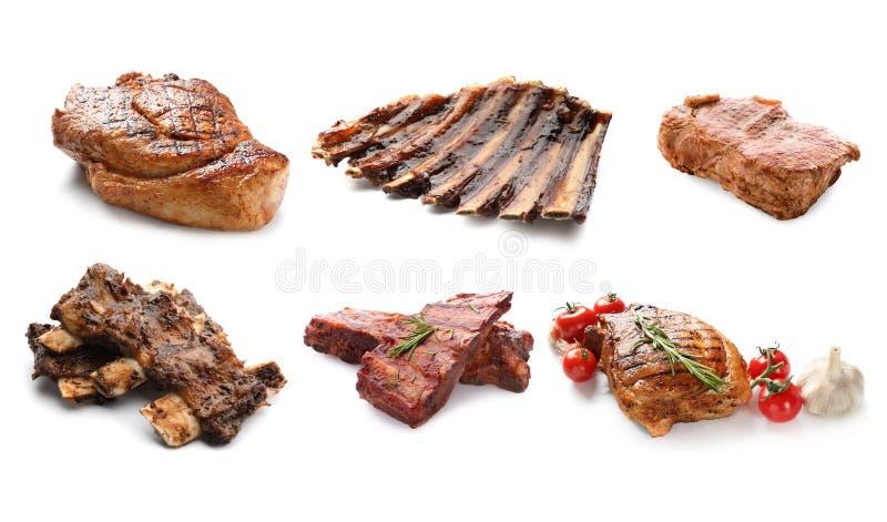Verschillend heerlijk geroosterd vlees op witte achtergrond stock afbeelding