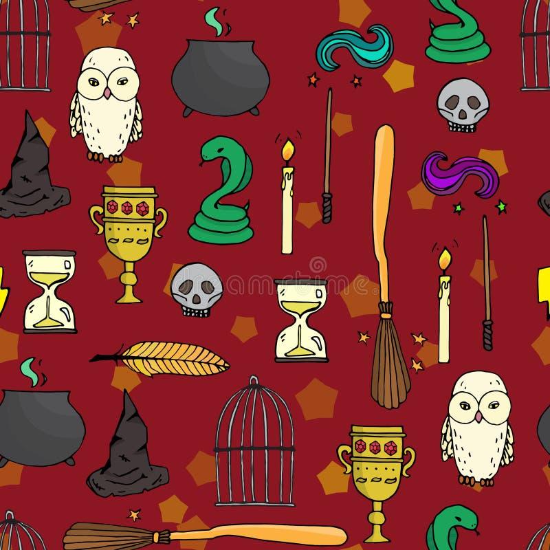 Verschillend heksenmateriaal Naadloos patroon stock illustratie