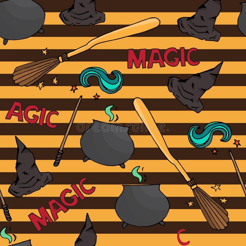 Verschillend heksenmateriaal Naadloos patroon vector illustratie
