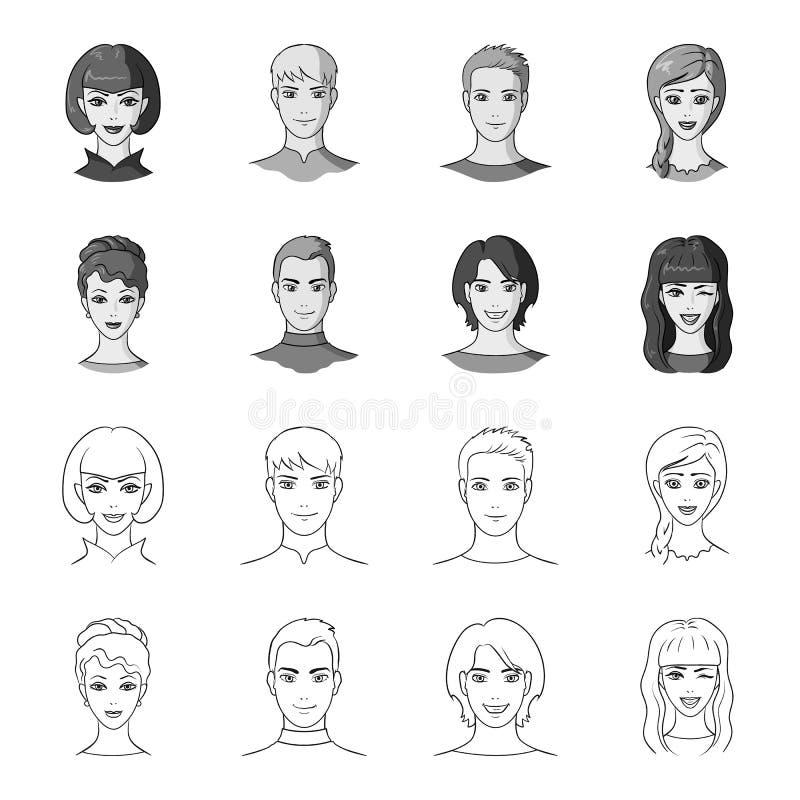 Verschillend kijkt van jongeren Avatar en gezichts vastgestelde inzamelingspictogrammen in overzicht, de zwart-wit voorraad van h royalty-vrije illustratie