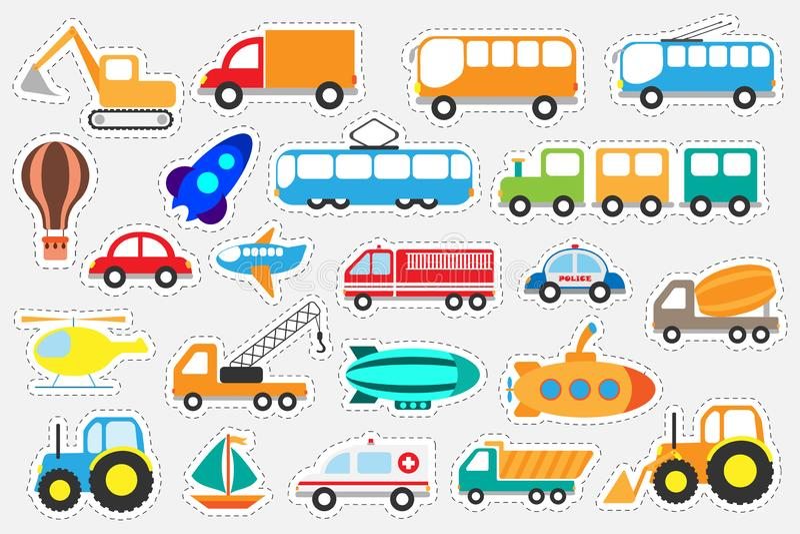 Verschillend kleurrijk vervoer voor kinderen, het spel van het pretonderwijs voor jonge geitjes, peuteractiviteit, reeks stickers stock illustratie