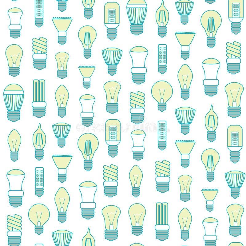 Verschillend Lamp of van de Gloeilampenlijn Patroon Als achtergrond Vector stock illustratie