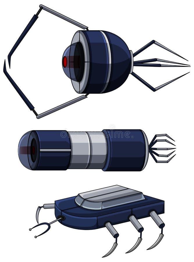 Verschillend ontwerp van nanobots stock illustratie