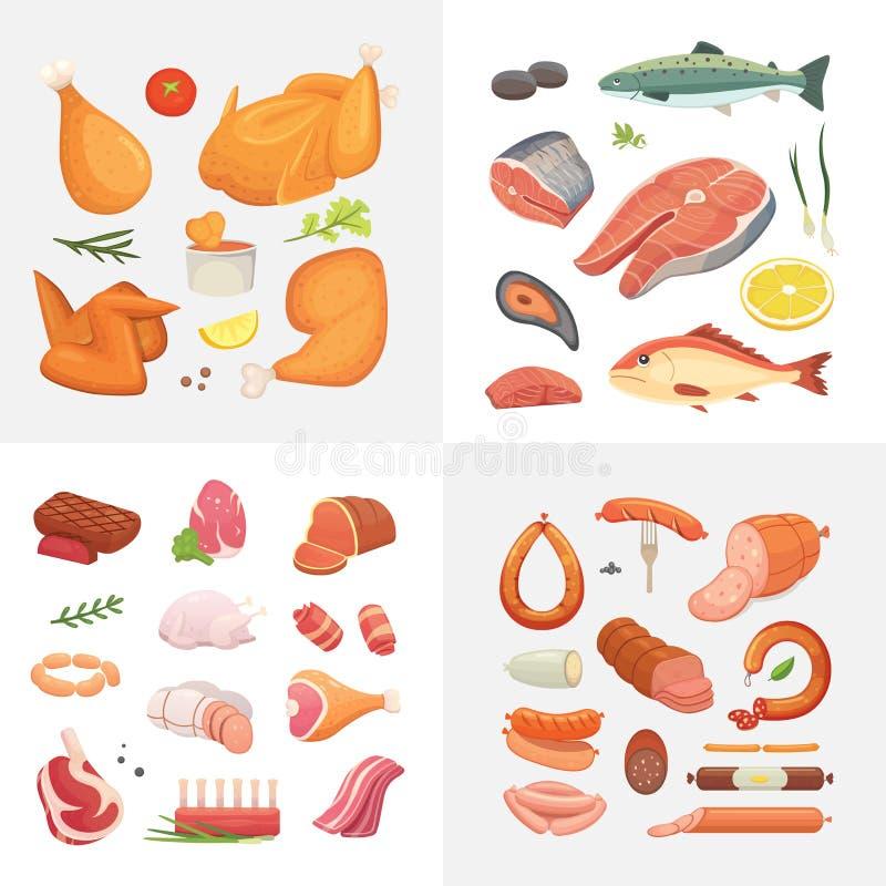 Verschillend soort de pictogrammen van het vleesvoedsel geplaatst vector De ruwe ham, vastgestelde grill chiken, stuk van varkens vector illustratie