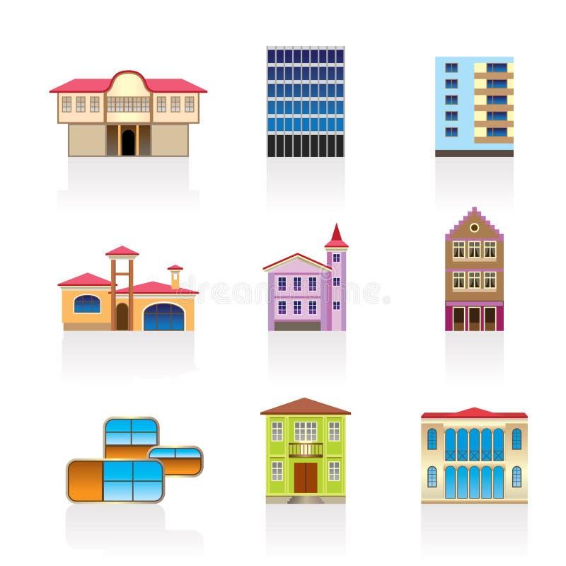 Verschillend soort huizen en gebouwen 2 royalty-vrije illustratie