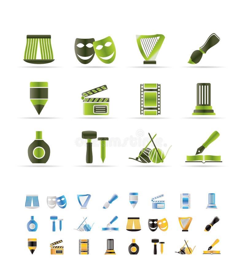 Verschillend soort kunstpictogrammen vector illustratie