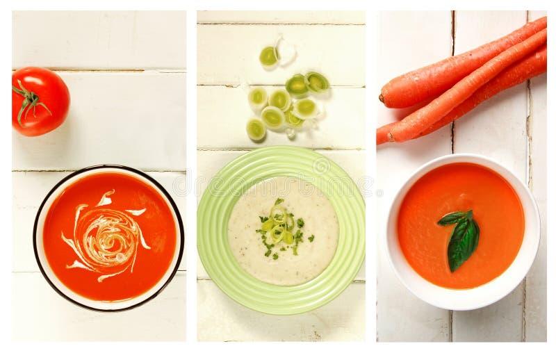 Verschillend soort soep op een lijst royalty-vrije stock afbeelding