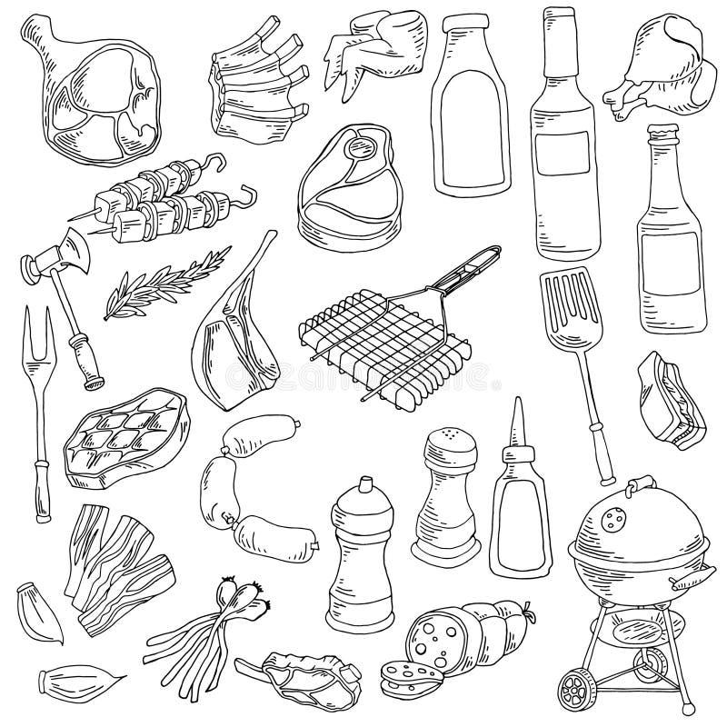 Verschillend soort vlees en voedselillustratie stock illustratie