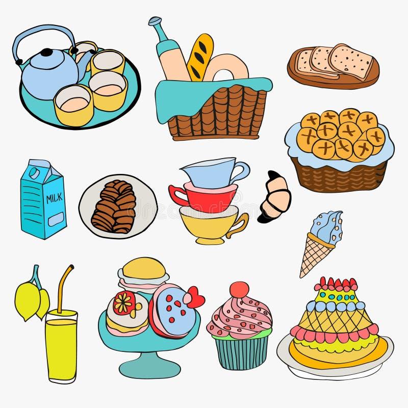 Verschillend soort voedsel en dessertkrabbelstijl stock illustratie