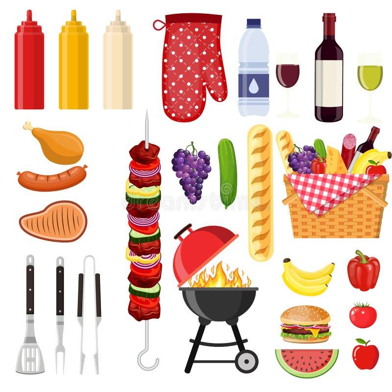 Verschillend speciale hulpmiddelen en voedsel stock illustratie