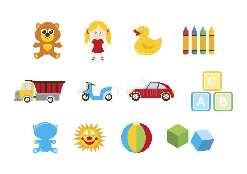 Verschillend speelgoed voor de vastgestelde vector van het jonge geitjespictogram royalty-vrije illustratie