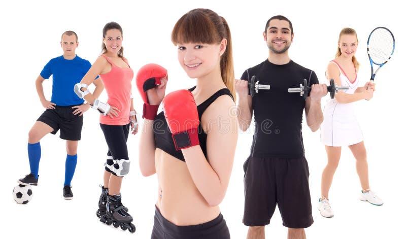 Verschillend sportenconcept - bodybuilder, vrouwelijke tennisspeler, wo stock fotografie