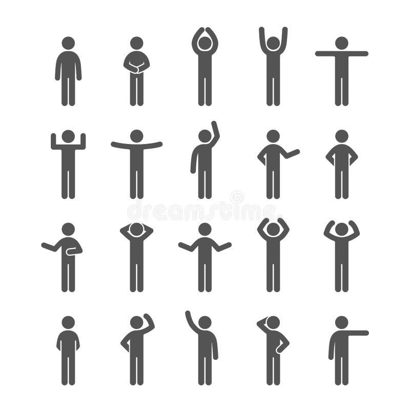 Verschillend stelt van het de mensenpictogram van het stokcijfer het pictogramreeks Geplaatste Infographicsmensen royalty-vrije illustratie