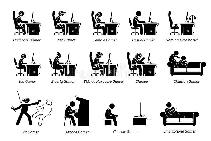 Verschillend type van gamerspictogrammen royalty-vrije illustratie
