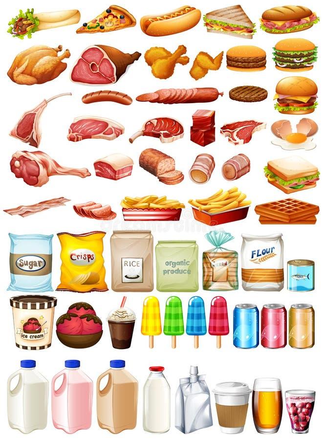 Verschillend type van voedsel en dessert stock illustratie