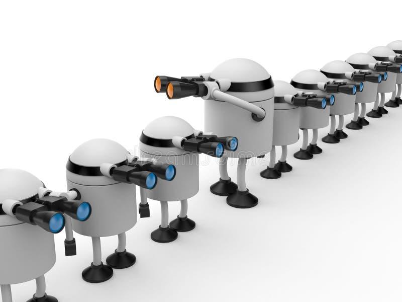 Verschillend van andere De robot kijkt in binoculair royalty-vrije illustratie