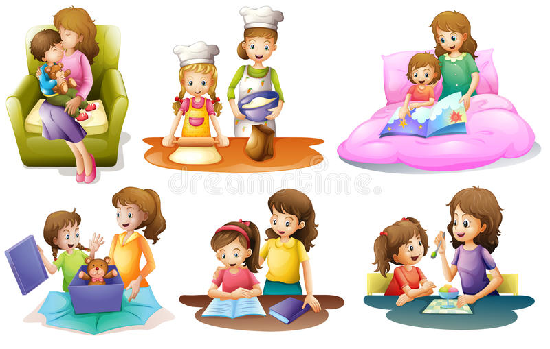 Verschillende activiteiten van een moeder en een kind stock illustratie