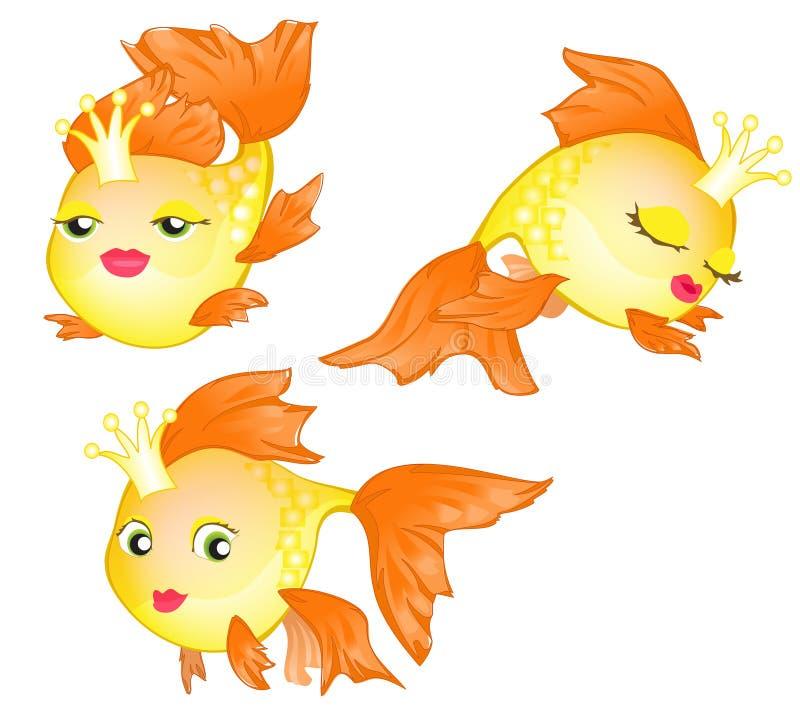 Verschillende beeldverhaal gouden vissen vector illustratie