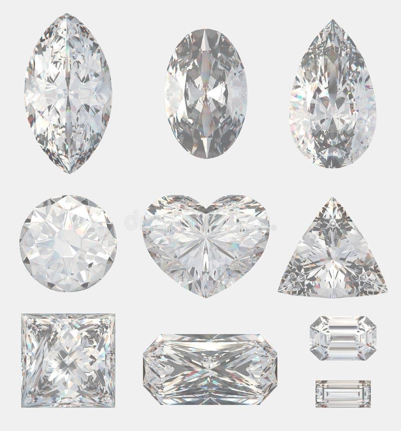 Verschillende besnoeiingen van diamanten stock illustratie