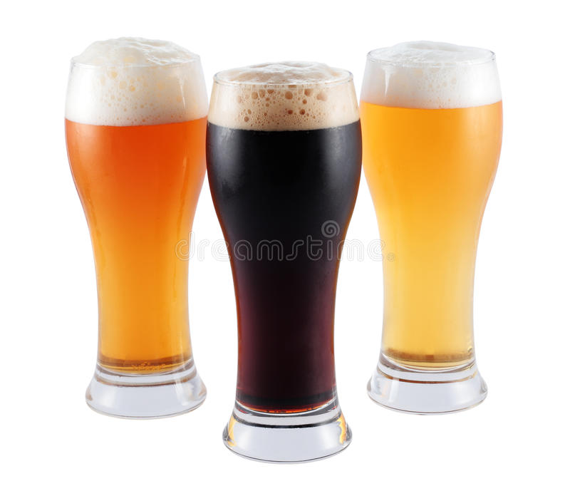 Verschillende bieren stock foto's