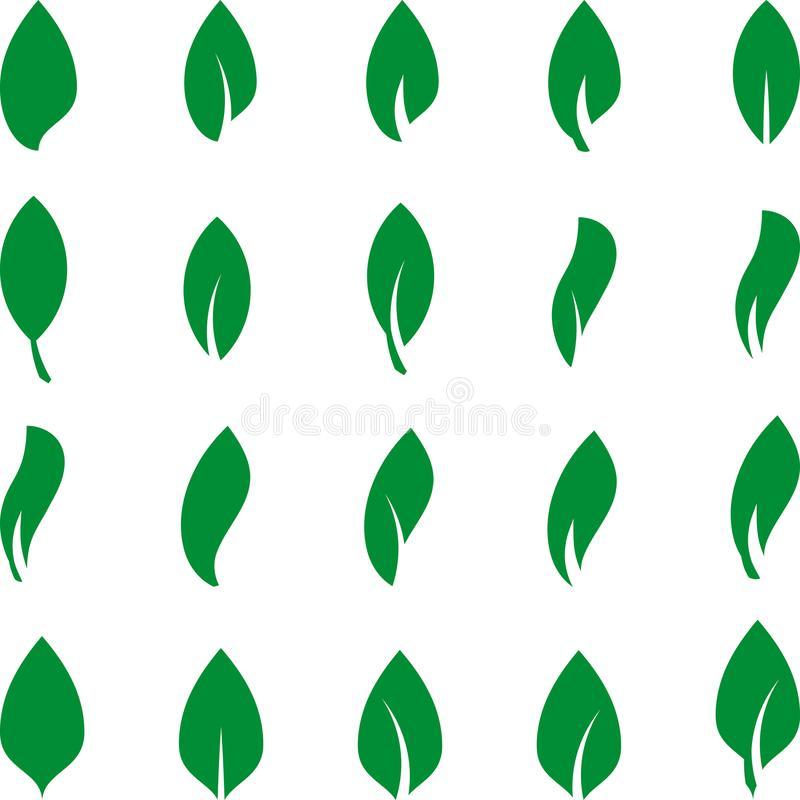 Verschillende bladeren in groene, bladereninzameling, bladerenpictogrammen, aard en wellnessembleem