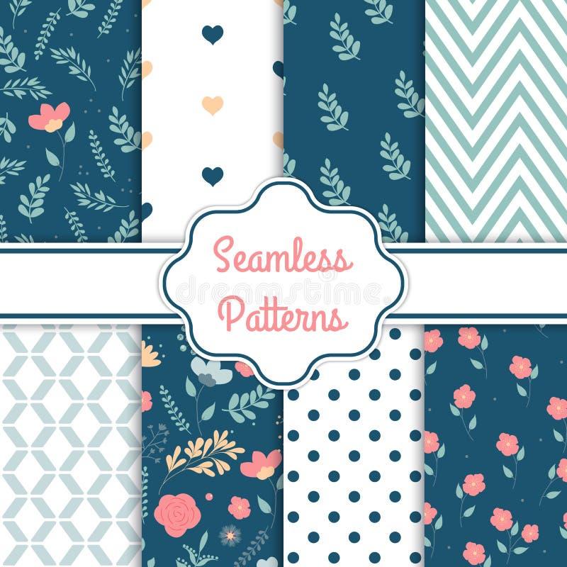 Verschillende bloem vector naadloze patronen De romantische elegante textuur kan voor drukstof en document of schroot het boeken  stock illustratie