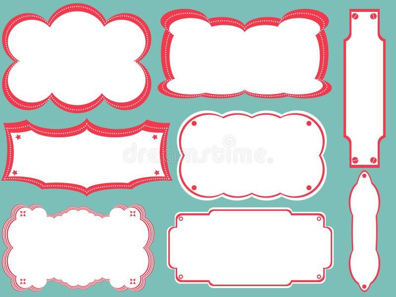 Verschillende boekmerken, frames stock illustratie