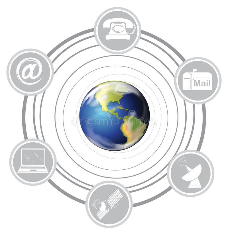 Verschillende communicatiemiddelen stock illustratie