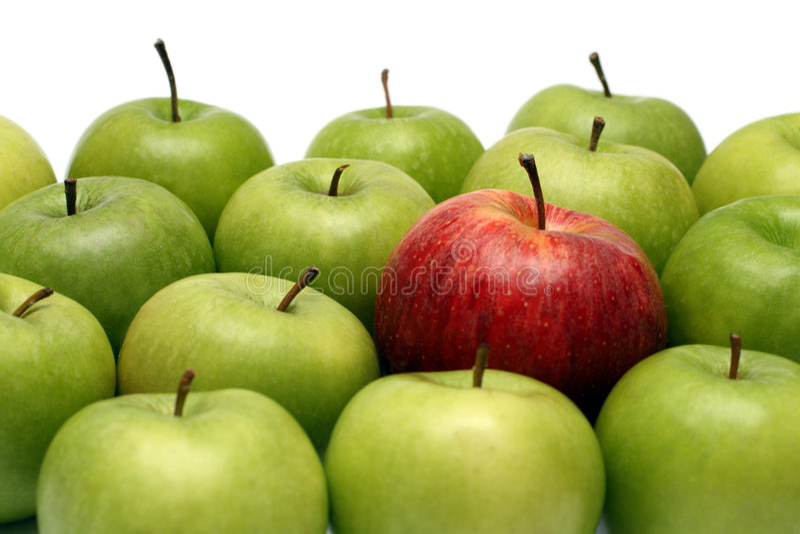 Verschillende concepten met appelen stock foto's
